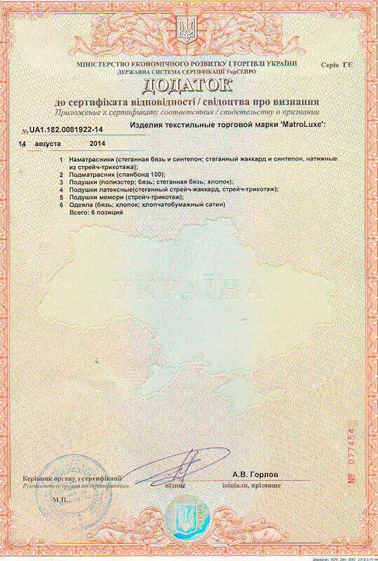 Дополнение к сертификату соответствия на аксессуары