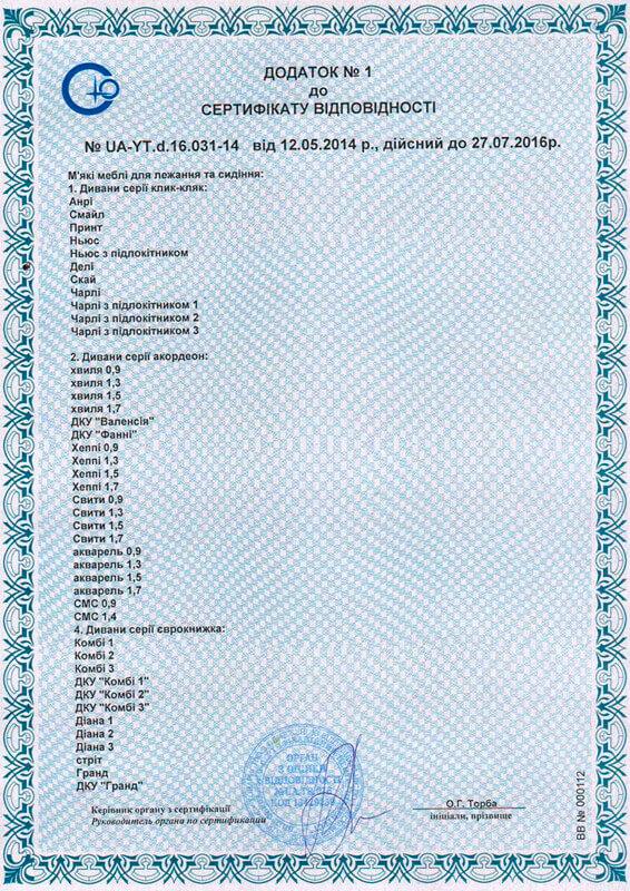 Дополнение 1 к сертификату соответствия на мягкую мебель для сидения и лежания